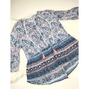 Paisley Blouse Top Small Pink Blue